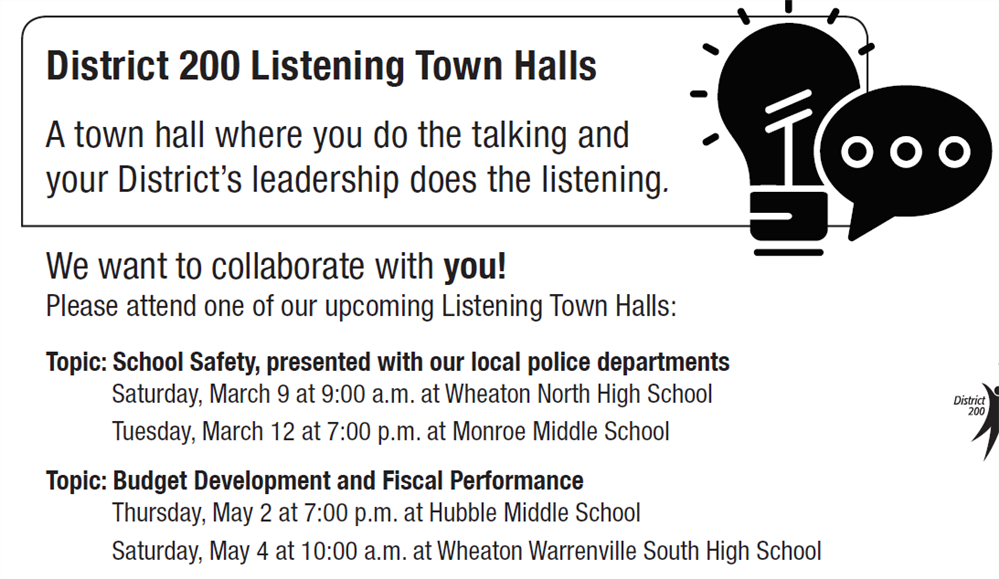 Board announces spring Listening Town Halls