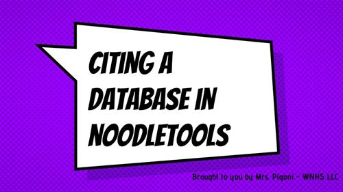 Citing a Database in Noodletools