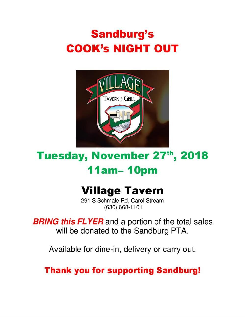 Cooks Night Out - Village Tavern