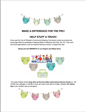 Make a Difference For the PRC! Help stuff a truck! WWSN PTA Diaper and Wipes Drive