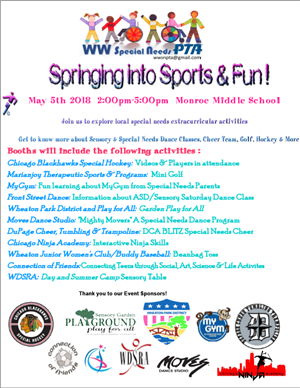 Springing into Sports & Fun! May 5th from 2:00-5:00pm at Monroe Middle School!  Join us to explore local SN activities