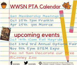 WWSN PTA Calendar Make A Difference Week                    October  22rd -26th  Diapers and Wipes Drive box located at SSC u