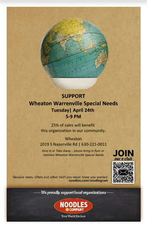 Support WWSN PTA with Dine In or Take out! from Noodles & Co. 2019 S Naperville Road