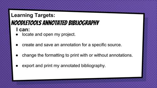 Noodletools annotated bib learning targets