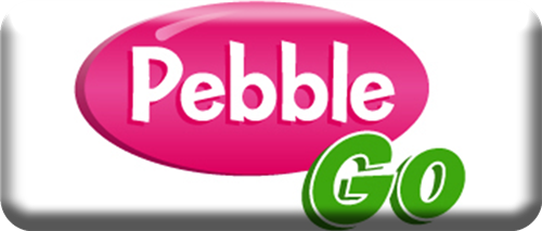 "White rectangle with centered pink circle with ""Pebble"" and Green ""GO"" to bottom right"