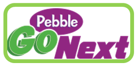"White background with ""Pebble Go Next"" text in purple and green"
