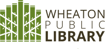 Wheaton Public Library stacked text on right side, green book/plant image on left