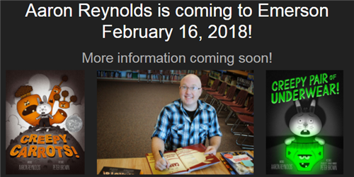 Aaron Reynolds is coming to Emerson!