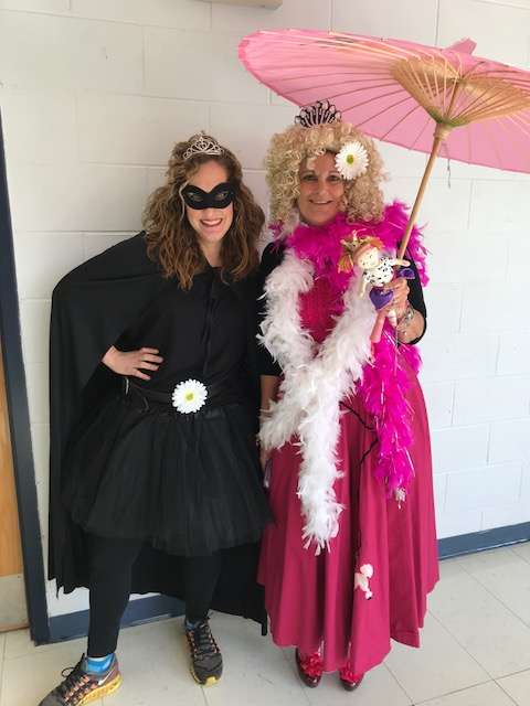 Hawthorne Reading Specialists dressing up as favorite story book characters: Princess Black and Fancy Nancy
